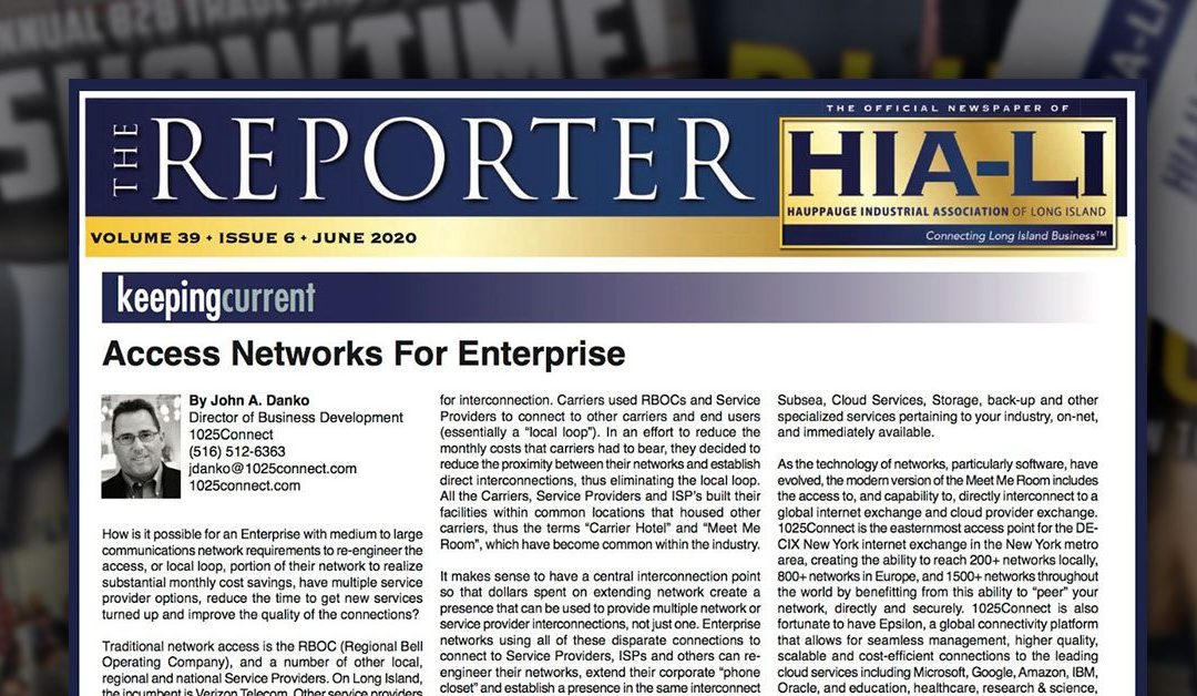 1025Connect featured in Hauppauge Industrial Association of Long Island (HIA-LI) newspaper